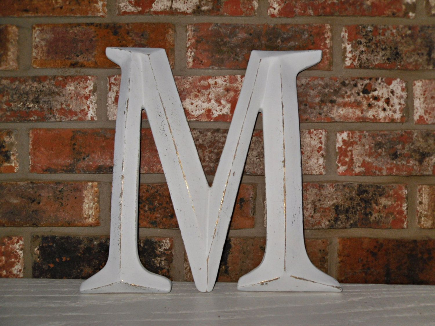 Large Letter M Capital Wall Initials Photo Prop Mantle Decor Shabby Chic