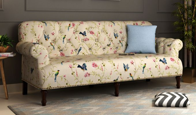 Buy Parker 3 Seater Sofa Linen Cream Robins Online In India Fabric Sofa Design Printed Fabric Sofa Seater Sofa