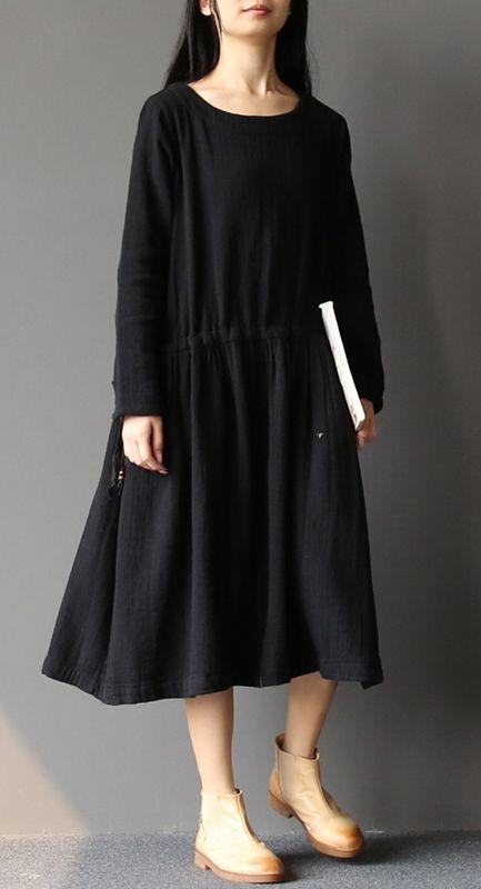 a88987749b1 2017 spring black pleated cotton dresses plus size linen maxi dress caftan