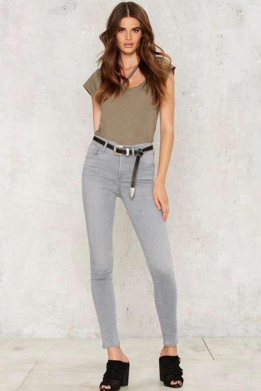 A Gold E  Sophie Skinny Jean in Gray