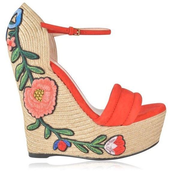 Gucci Floral Wedge Heels ($620) ❤ liked