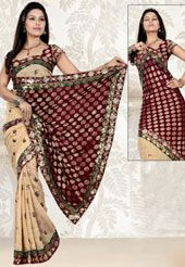 beige and maroon faux georgette saree having beautiful work in lovely pattern.