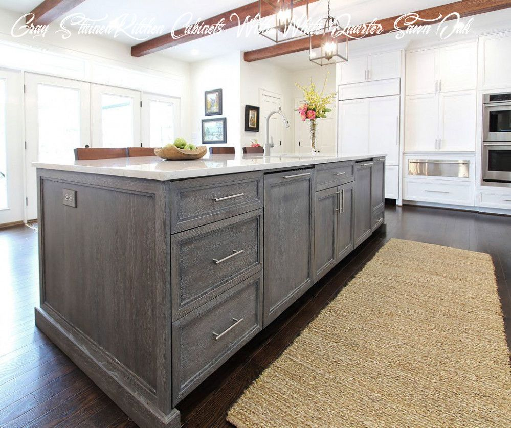 Gray Stained Kitchen Cabinets With White Quarter Sawn Oak In 2020 Stained Kitchen Cabinets Gray Stained Cabinets Staining Oak Cabinets