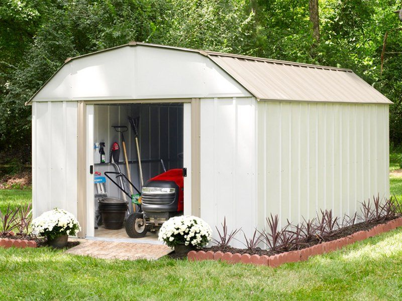 Lexington 10 Ft W X 13 5 Ft D Metal Storage Shed Metal Storage Sheds Building A Shed Steel Storage Sheds