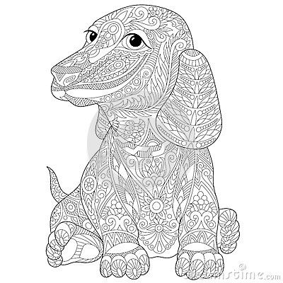 Zentangle dachshund teckel coloring for adults more - Dessin teckel ...