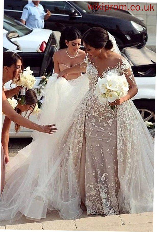 Charming Half Sleeve Mermaid Tulle Appliques Wedding