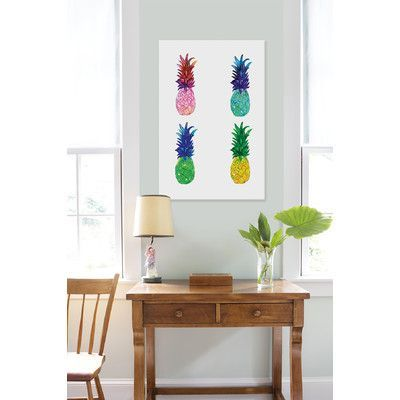 Mercury Row Pineapple Framed Painting Print Color: White