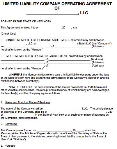 Ny Llc Operating Agreement Llc Business Home Health Nurse Llc