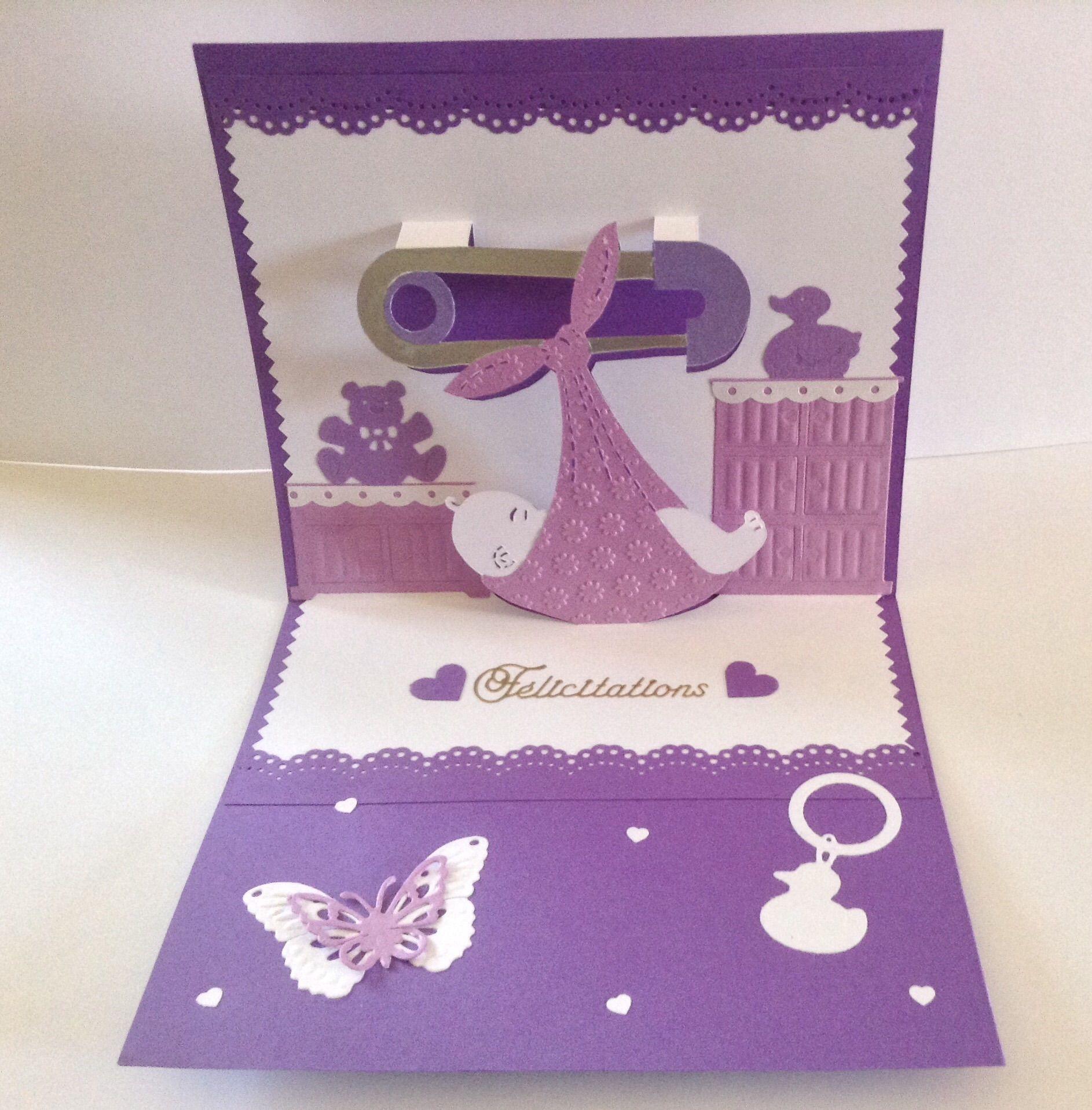 Carte kirigami mixte fille ou gar on f licitations pour une naissance b b fille ou gar on en - Carte etape bebe a imprimer ...