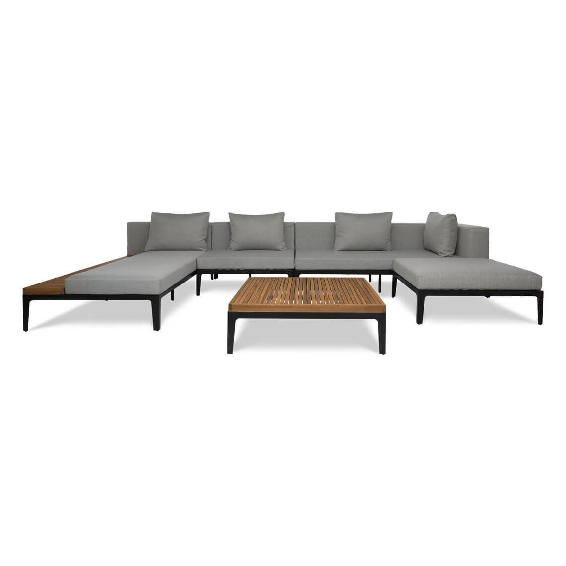 Freedom Kent 5 Piece Outdoor Lounge Set With Right Arm Facing Modular Sofa Size W 400cm X D 220cm X H 80cm Outdoor Lounge Set Modular Sofa All Modern Furniture