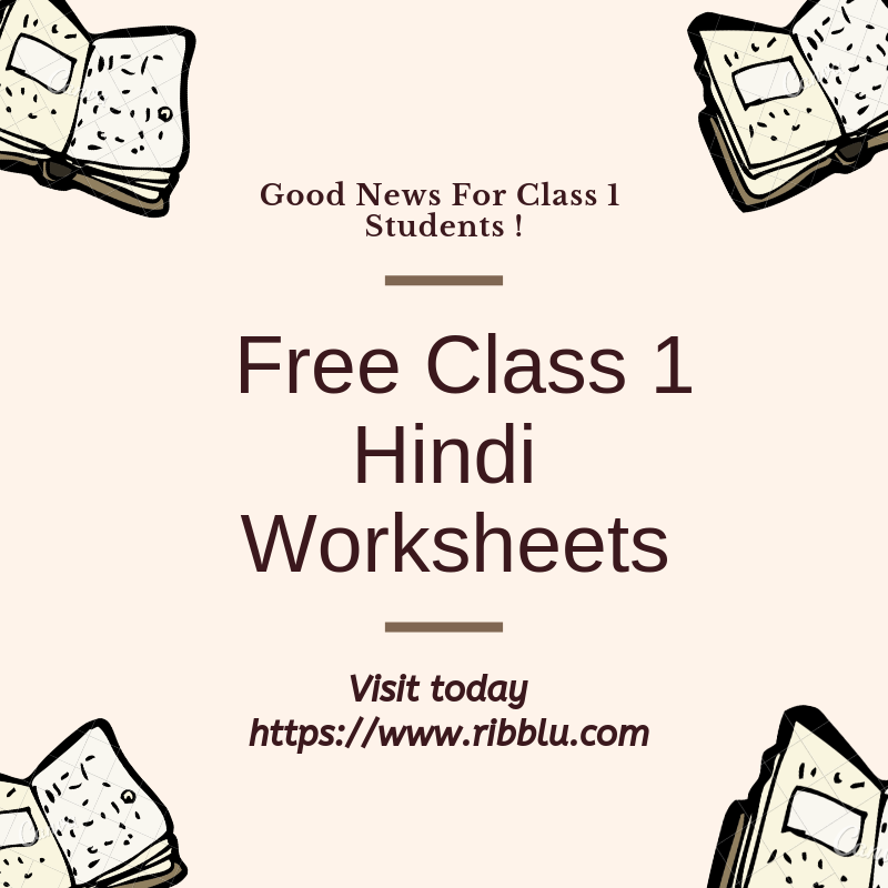 CBSE Class 1 Hindi Worksheets Class 1 maths, Question