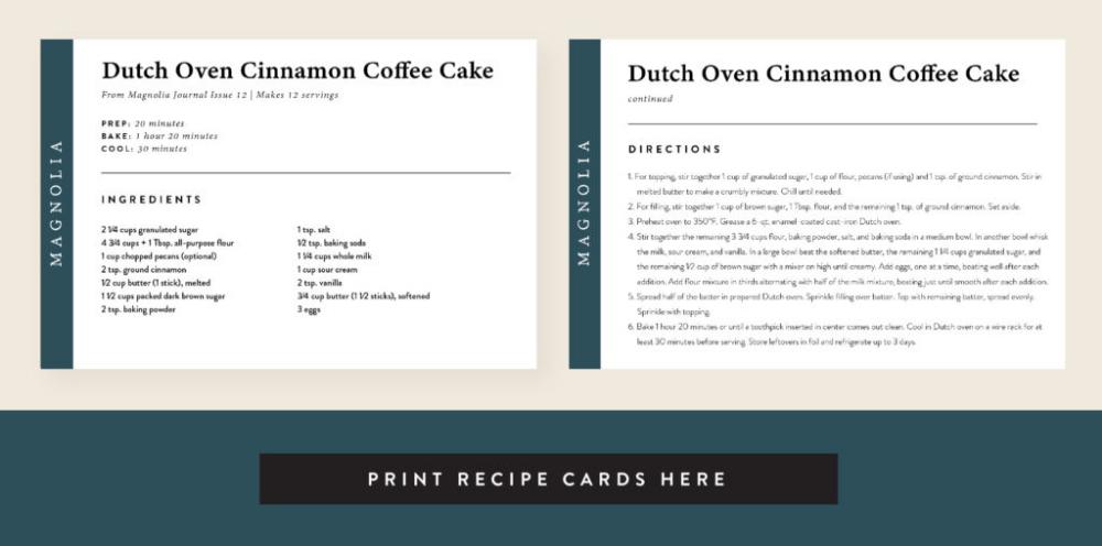 Dutch Oven Cinnamon Coffee Cake Recipe Magnolia Cinnamon Coffee Cake Coffee Cake Recipes Cinnamon Coffee
