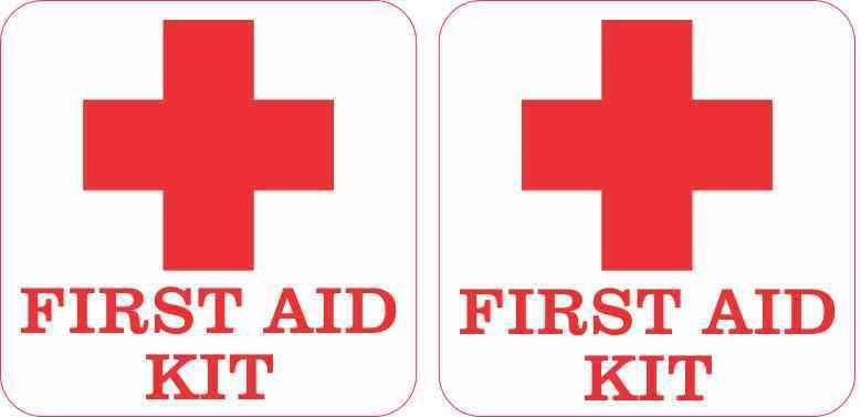 2 5in x 2 5in First Aid Kit Stickers | Signs and Symbols