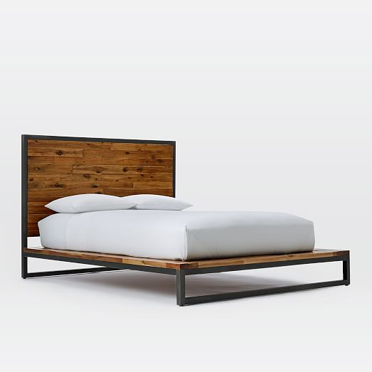 Logan Industrial Platform Bed Natural In 2020 Industrial