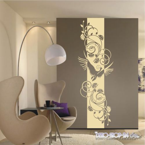 WANDTATTOO-Blumen-Ranke-Banner-Blueten-Ornament-Zaubervogel-Motiv - Wandtattoos Fürs Badezimmer