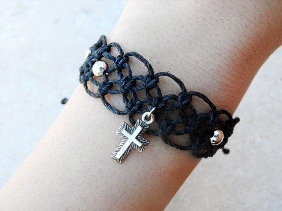 Black Cross Hemp Bracelet by controversial on Etsy, $12.00