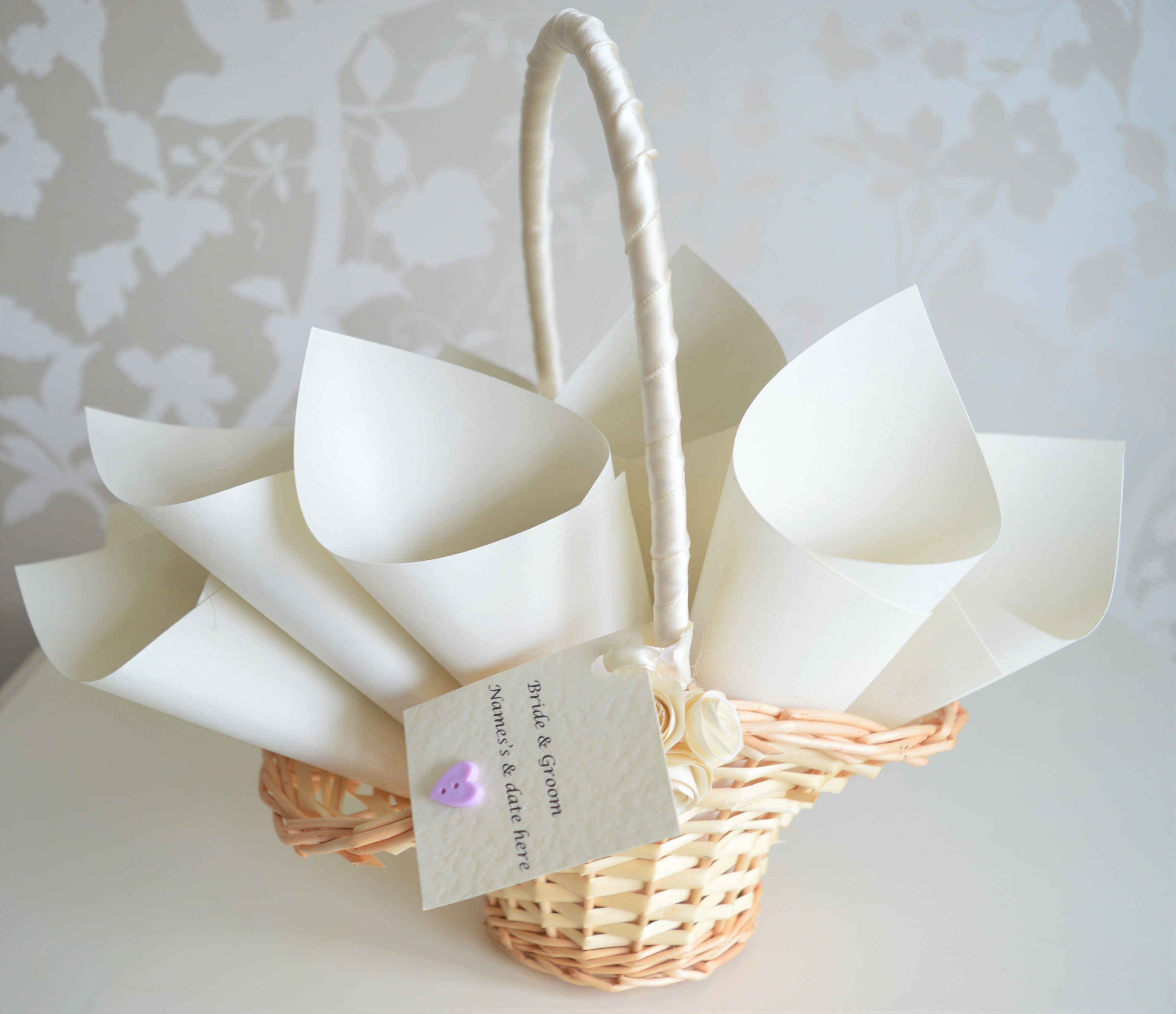 Flower Girl /Page Boy basket with 12 cones and red petals ...