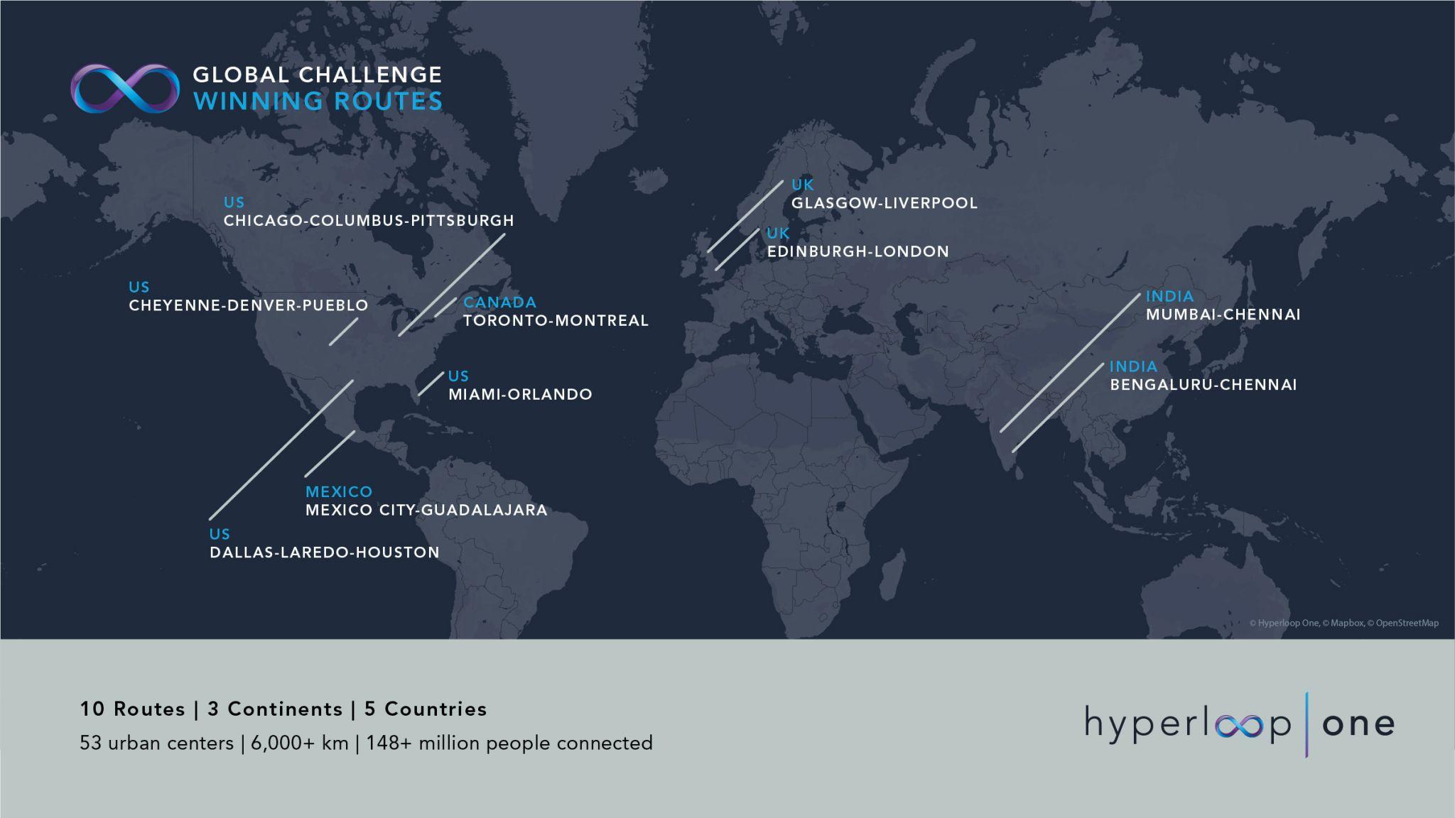 Hyperloop One Reveals 10 Strongest Potential Hyperloop Routes In