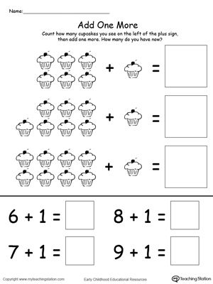 Add One More Cupcake Addition  Printable Maths Worksheets