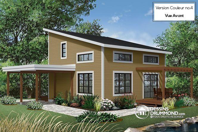 W3968 - Chalet ou maison moderne, bon prix, espace ouvert, 2 - plan de maisons modernes
