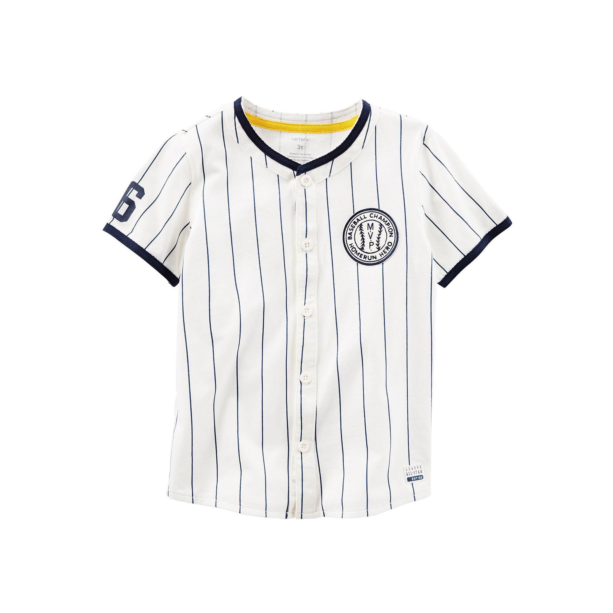 3c1f9813b Baby Boy Carter s Pinstripe Button-Down Baseball Jersey Tee