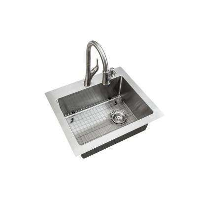 Glacier Bay All In One Dual Mount Stainless Steel 25 In 2 Hole Single Bowl Tight Radius Kitchen Sink In Brushed Finish With Faucet Vdr2522a1 The Home Depot Brushed Nickel Kitchen Faucet Sink Drop
