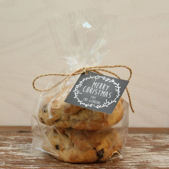 12 Cellophane Bags With Personalized Laurel Chalkboard Holiday Tags Cookie Christmas Party Favor On Etsy 18 00