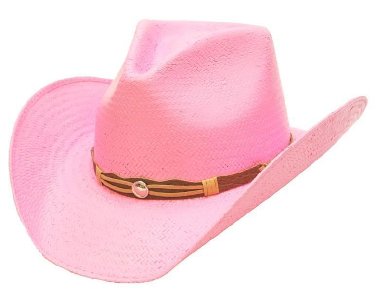 6285facdf203e Western Lady s Pink Straw Hat Pink Cowboy Hat Rodeo Women s Cowgirls - S