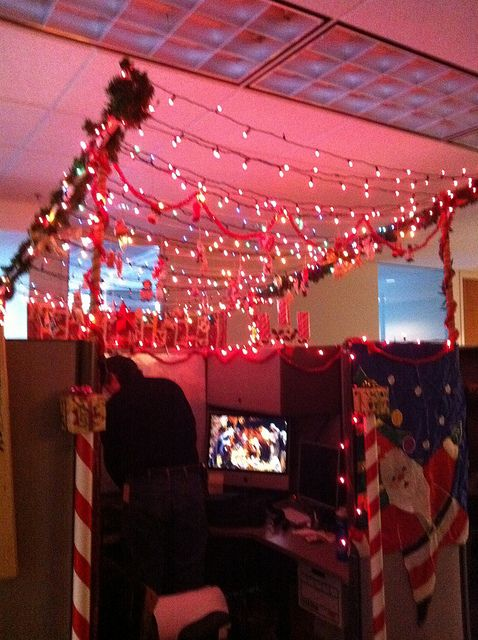 Manger  Office christmas decorations, Christmas cubicle