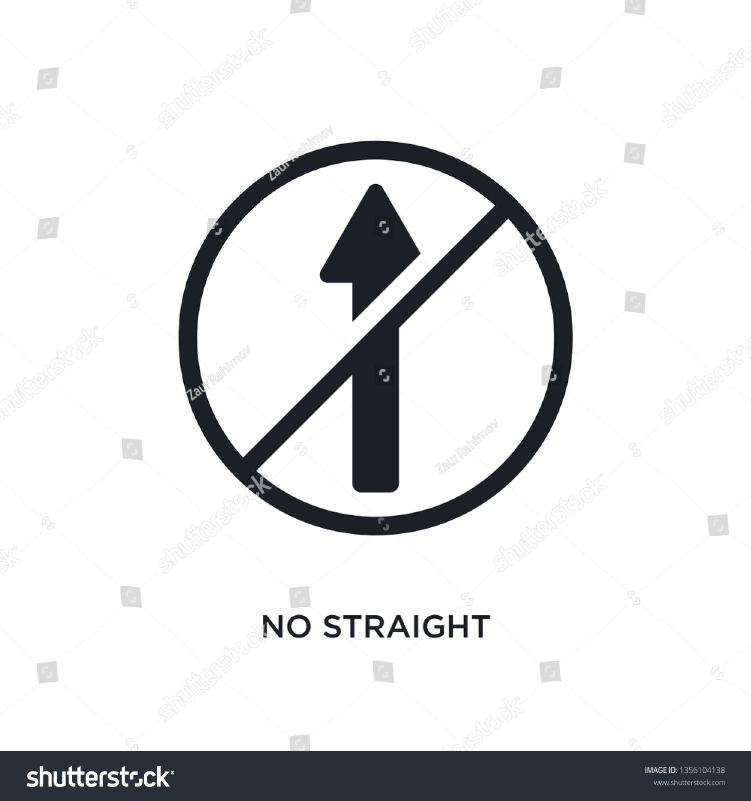 black no straight isolated vector icon simple element illustration from traffic signs concept vector icons no straight editable logo symbol design on white background can...