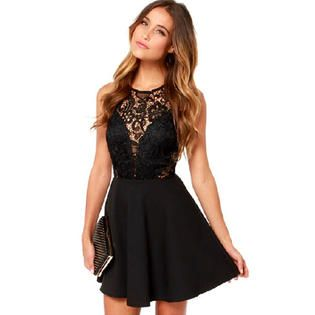 6a78735ea1 KettyMore Women Round Neck Lace Decorated Short Length Sexy Skirt Dress  Black
