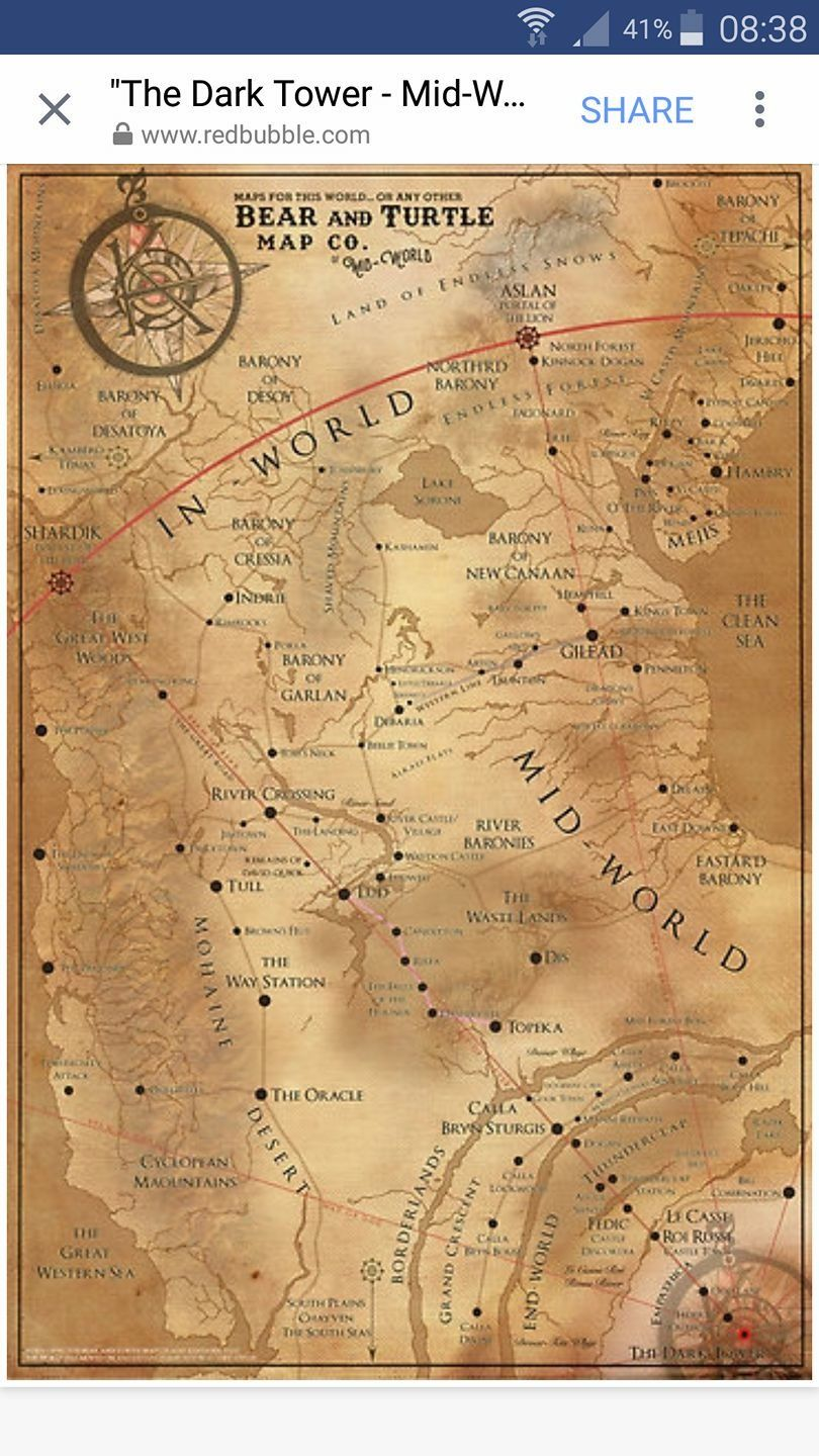 Map of Mid-World... | The Dark Tower | Dark tower art, Dark tower ...