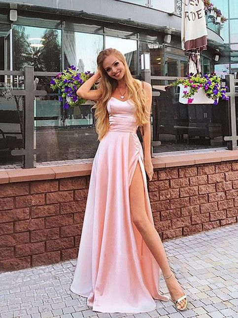 Charming A Line Sweetheart Spaghetti Straps Slit Pink Long Prom Dresses, Beautiful Evening Dresses