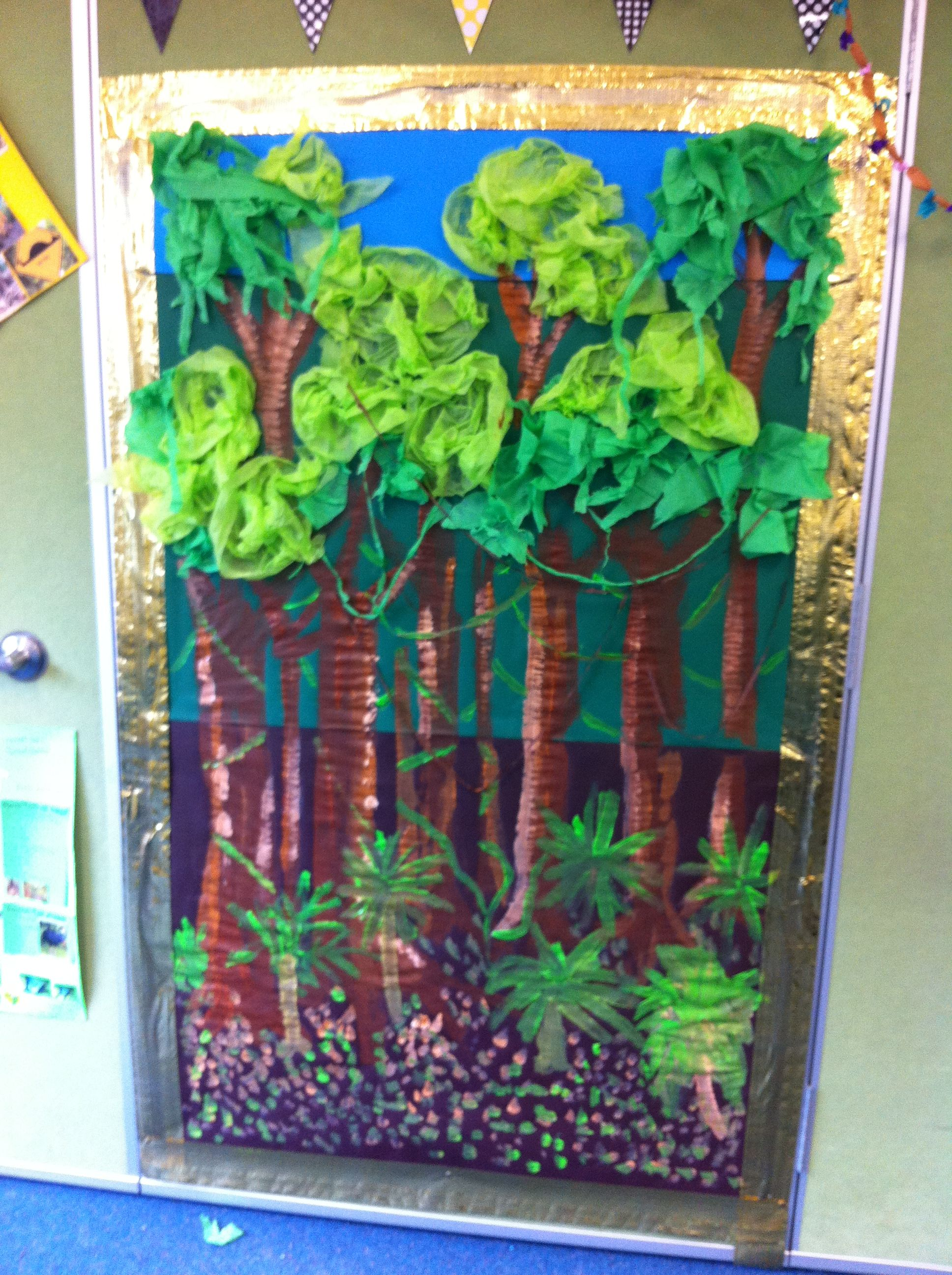 Rainforest Wall As A Class We Later Named The Layers Of The Rainforest And Discussed What