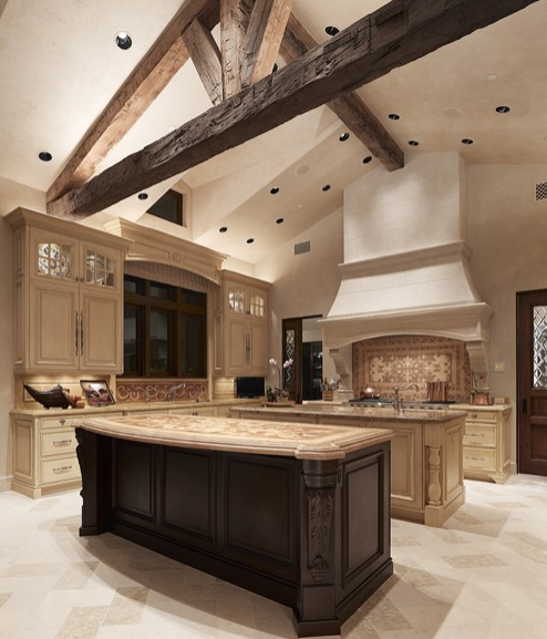 beautiful kitchens with island | ... kitchen island, large kitchens, high  ceiling