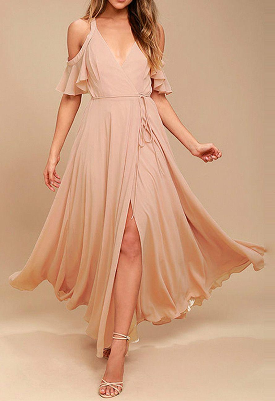 Womenus off shoulder ruffle sleeve split maxi dress clothes