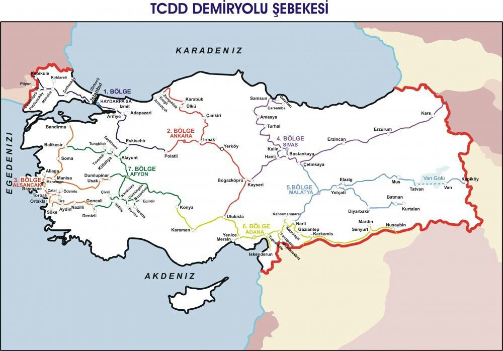 Turkey Railway Map As Country Network
