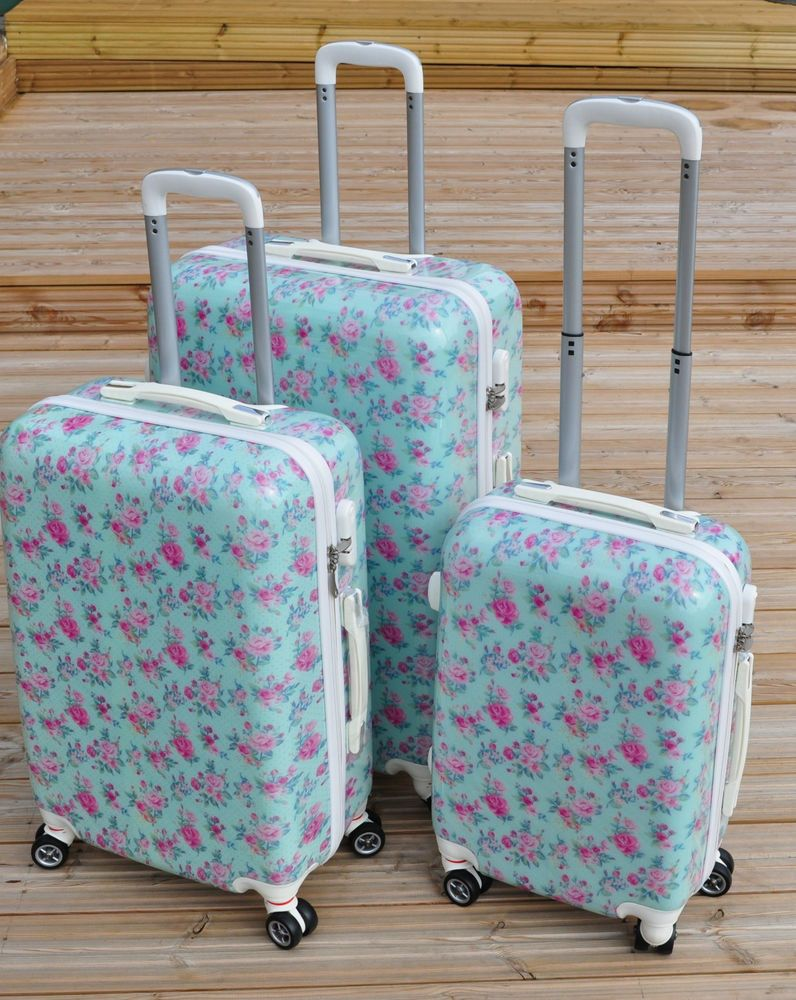 8fd96b3dcacf Details about BLUE PINK ROSES FLORAL SUITCASE BAG LUGGAGE SUITCASE ...