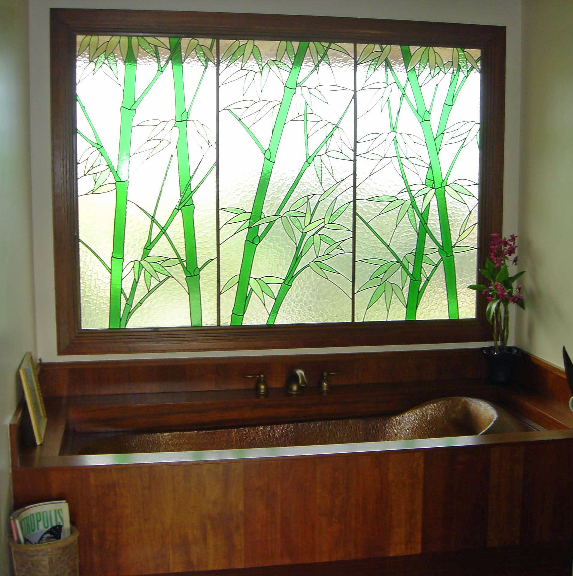 Cling etched glass window decal for - Custom Copper Bathtub Bamboo Motif Stained Glass Window Custom Woodwork Private Residence