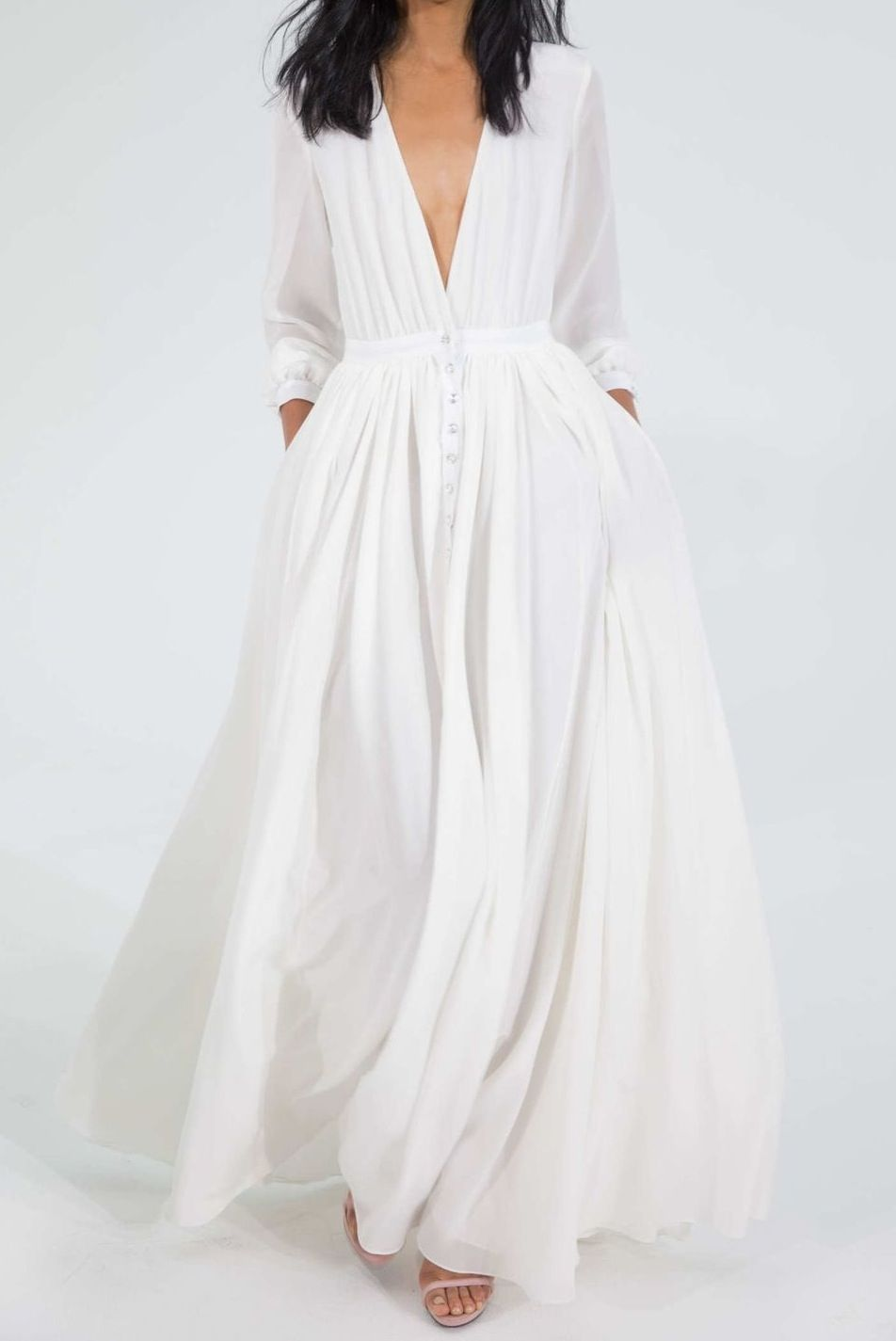 Houghton white long sleeve maxi dress nude barely there sandals