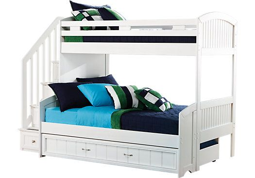 Shop For A Cottage Colors White Twin Full Step Bunk Bed At Rooms