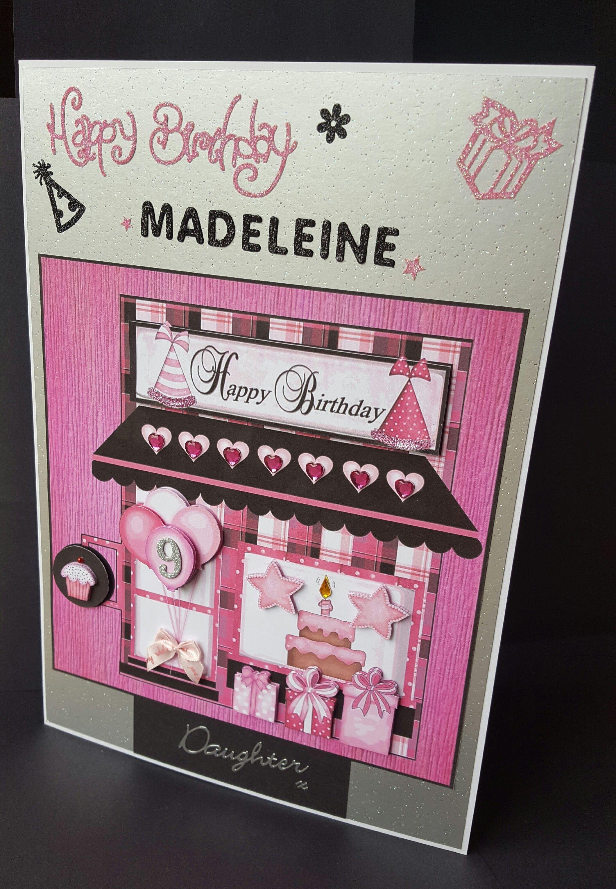 Black Pink & Silver Daughter Happy Birthday Card