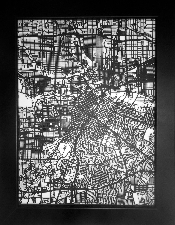 Houston texas laser cut street map modern art by carbonlight