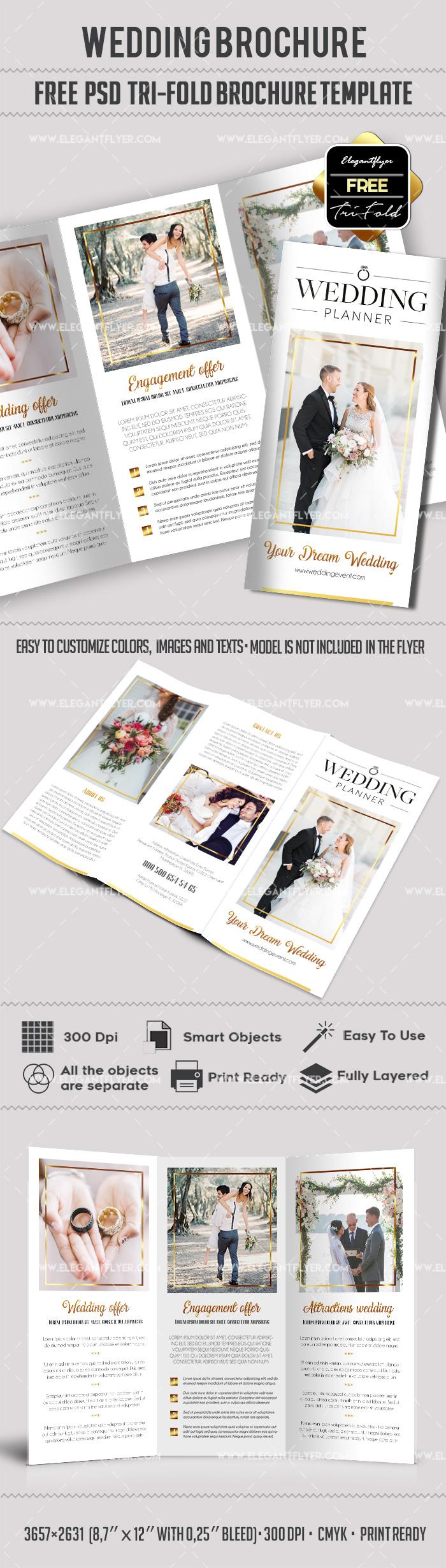 Wedding – Free PSD Tri-Fold Brochure Template | Tri fold brochure ...