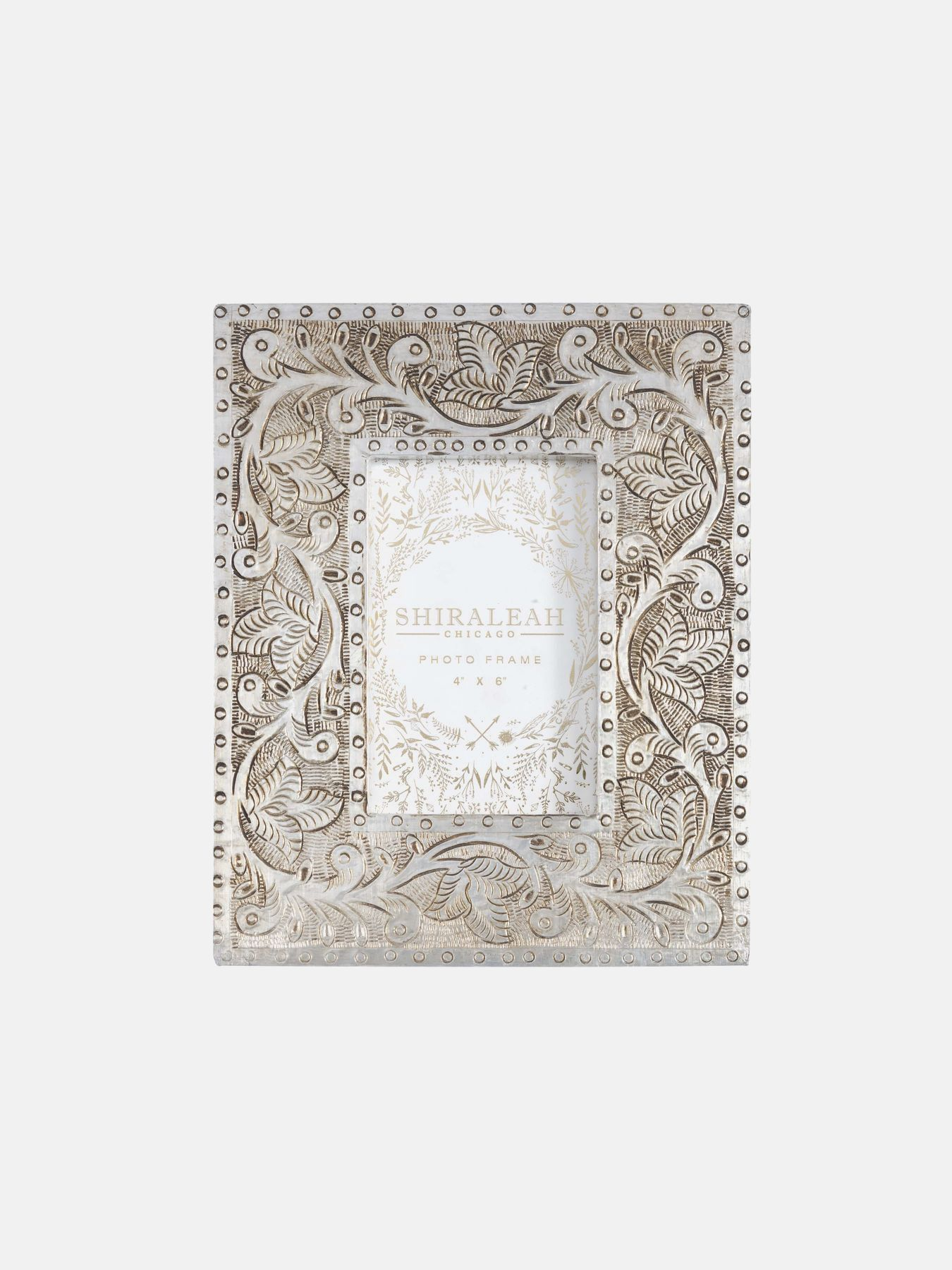 Photo of Marais Stenciled 4″ x 6″ Picture Frame in Silver