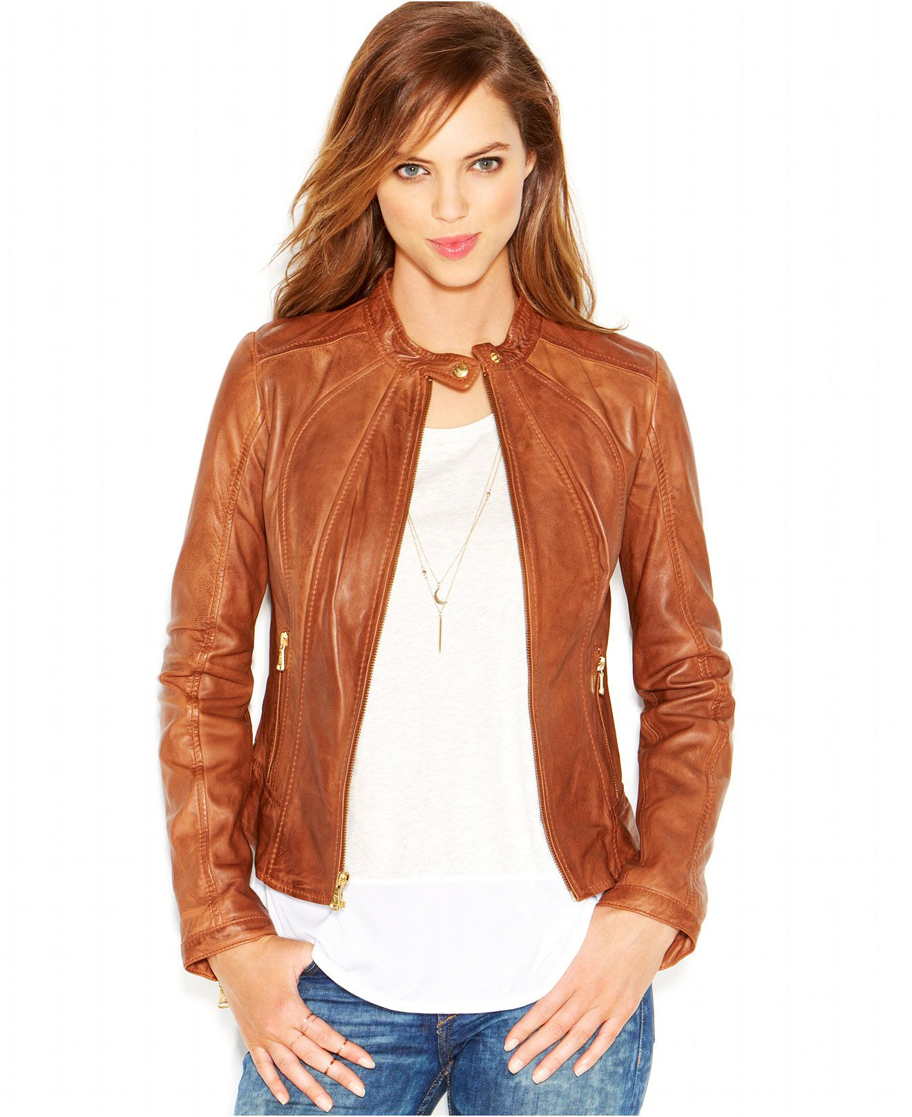 Guess Collarless Leather Moto Jacket Coats Women Macy S Jackets Coats For Women Collarless [ 1616 x 1320 Pixel ]