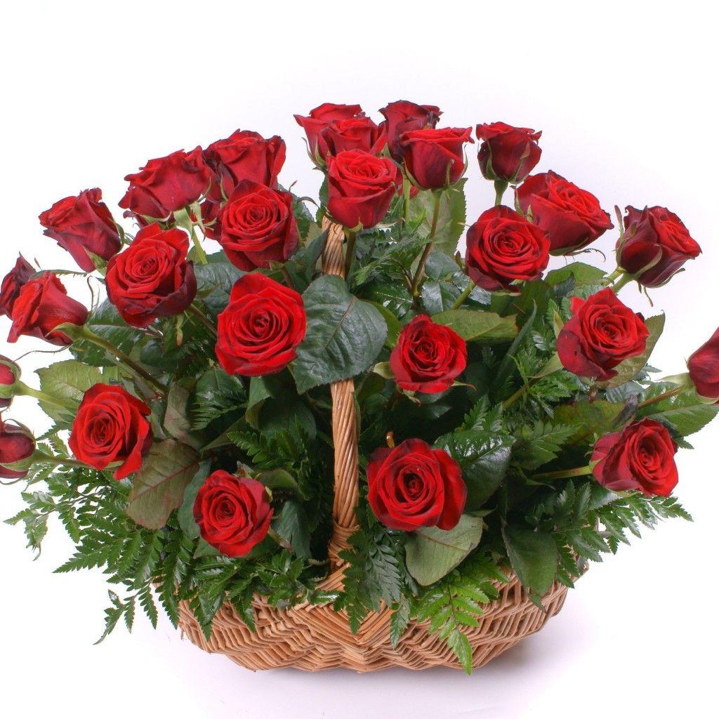 Открытки корзина красных роз, днем рождения