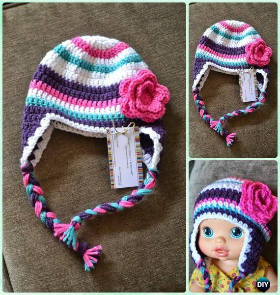 Crochet Super Bulky Striped Hat Free Pattern Instructions-DIY #Crochet Ear Flap #Hat Free Patterns