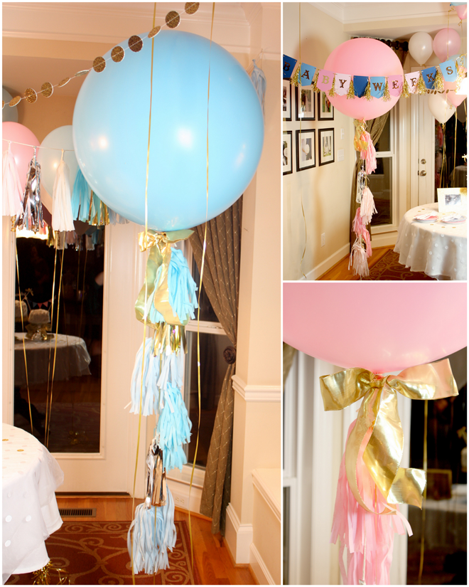 Baby Shower Reveal Party: Pops Of Gold: Gender Reveal Party