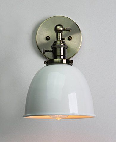 Permo 63 Inch Metal Dome Shade Industrial Wall Sconce Lighting Fixture White